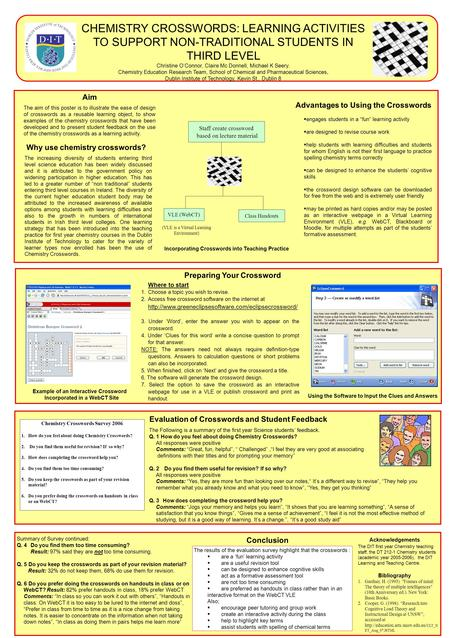 CHEMISTRY CROSSWORDS: LEARNING ACTIVITIES TO SUPPORT NON-TRADITIONAL STUDENTS IN THIRD LEVEL Christine O'Connor, Claire Mc Donnell, Michael K Seery. Chemistry.