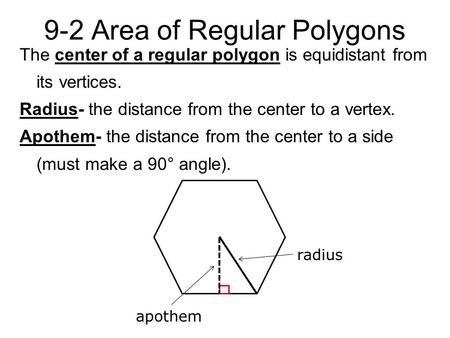 9-2 Area of Regular Polygons The center of a regular polygon is equidistant from its vertices. Radius- the distance from the center to a vertex. Apothem-