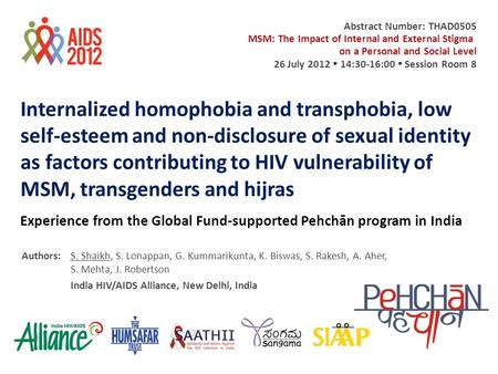 Internalized homophobia and transphobia, low self-esteem and non-disclosure of sexual identity as factors contributing to HIV vulnerability of MSM, transgenders.