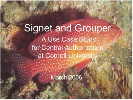 Signet and Grouper A Use Case Study for Central Authorization at Cornell University March 2006.