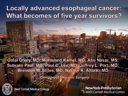 Background  Reports of long-term survivors (≥5 years) of locally advanced esophageal cancer (LAEC) have focused mainly on HRQL or GI symptoms  Only.