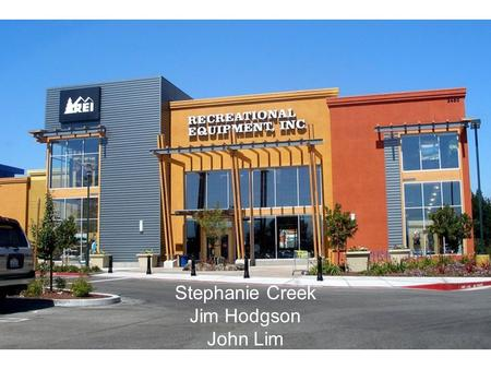"Stephanie Creek Jim Hodgson John Lim. About REI ""Recreational Equipment Inc."" American consumers' co-op Sells outdoor gear and sporting goods. Sales mediums:"