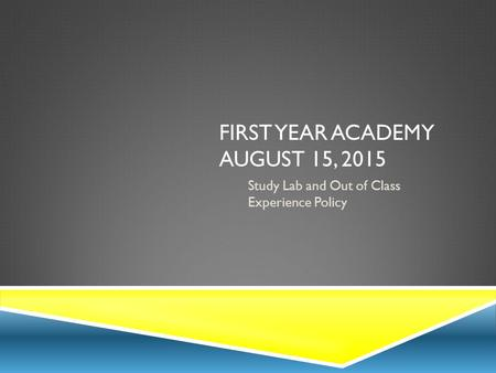 FIRST YEAR ACADEMY AUGUST 15, 2015 Study Lab and Out of Class Experience Policy.