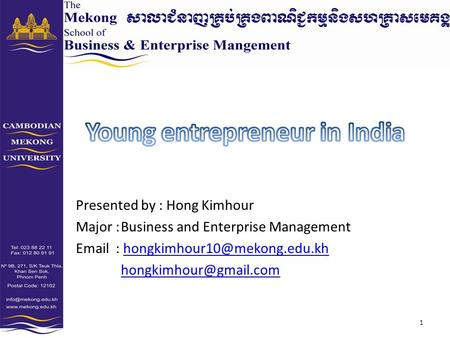 Presented by : Hong Kimhour Major :Business and Enterprise Management