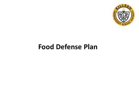 Food Defense Plan. USDA Food Defense Supplement Assessment PAMS was assessed in three areas of security measures for food defense Results of the assessment.