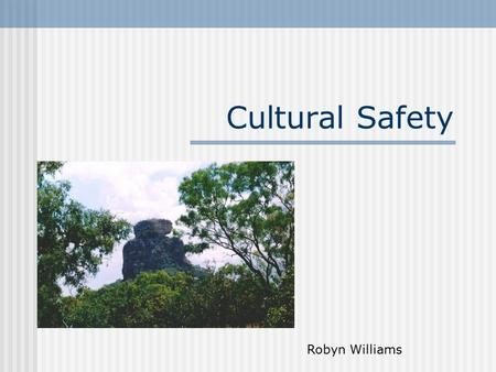 Cultural Safety Robyn Williams. Objectives Critically examine the concept of cultural safety.