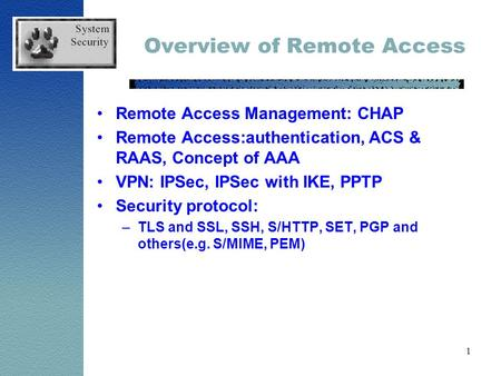 1 Overview of Remote Access Remote Access Management: CHAP Remote Access:authentication, ACS & RAAS, Concept of AAA VPN: IPSec, IPSec with IKE, PPTP Security.