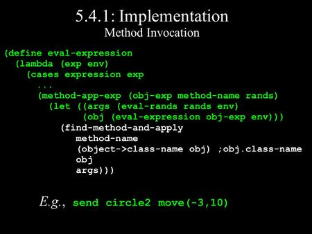 5.4.1: Implementation Method Invocation (define eval-expression (lambda (exp env) (cases expression exp... (method-app-exp (obj-exp method-name rands)
