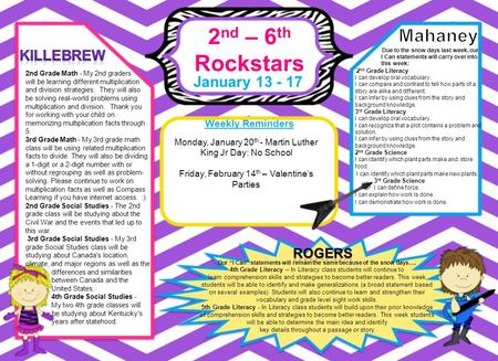 "2 nd – 6 th Rockstars January 13 - 17 Weekly Reminders Our ""I Can"" statements will remain the same because of the snow days…. 4th Grade Literacy – In Literacy."