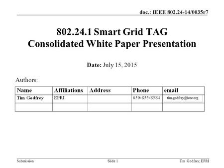 Smart Grid TAG Consolidated White Paper Presentation