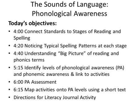 The Sounds of Language: Phonological Awareness Today's objectives: 4:00 Connect Standards to Stages of Reading and Spelling 4:20 Noticing Typical Spelling.