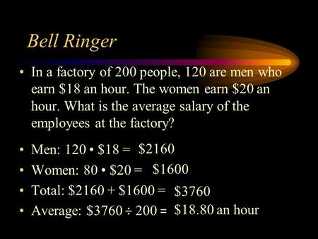 Bell Ringer In a factory of 200 people, 120 are men who earn $18 an hour. The women earn $20 an hour. What is the average salary of the employees at the.