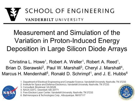 Measurement and Simulation of the Variation in Proton-Induced Energy Deposition in Large Silicon Diode Arrays Christina L. Howe 1, Robert A. Weller 1,