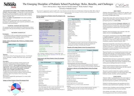 The Emerging Discipline of Pediatric School Psychology: Roles, Benefits, and Challenges Carrie A. Blevins, Katie L. Magee, Susan M. Sheridan, Kathryn E.