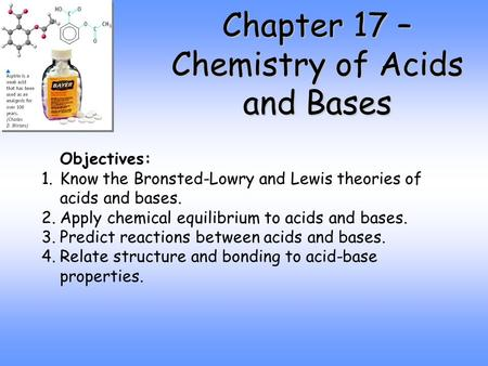 Chapter 17 – Chemistry of Acids and Bases