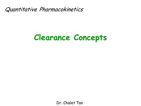 Quantitative Pharmacokinetics
