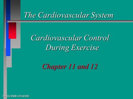 Illinois State University The Cardiovascular System The Cardiovascular System Cardiovascular Control During Exercise Chapter 11 and 12.