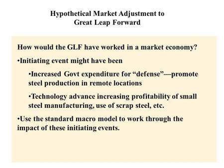 Copyright © 2004 South-Western Hypothetical Market Adjustment to Great Leap Forward How would the GLF have worked in a market economy? Initiating event.