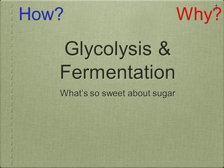 1 Glycolysis & Fermentation What's so sweet about sugar How?Why?