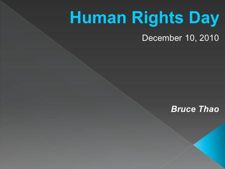 Human Rights Day December 10, 2010 Bruce Thao. What are human rights?