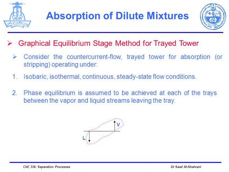Dr Saad Al-ShahraniChE 334: Separation Processes Absorption of Dilute Mixtures  Graphical Equilibrium Stage Method for Trayed Tower  Consider the countercurrent-flow,