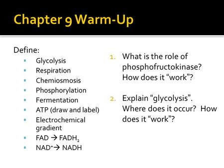 Define:  Glycolysis  Respiration  Chemiosmosis  Phosphorylation  Fermentation  ATP (draw and label)  Electrochemical gradient  FAD  FADH 2  NAD.