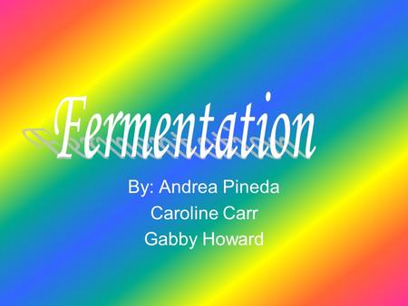 By: Andrea Pineda Caroline Carr Gabby Howard. About Fermentation… Fermentation: conversion of sugars and starches to alcohol through enzymes Fermentation: