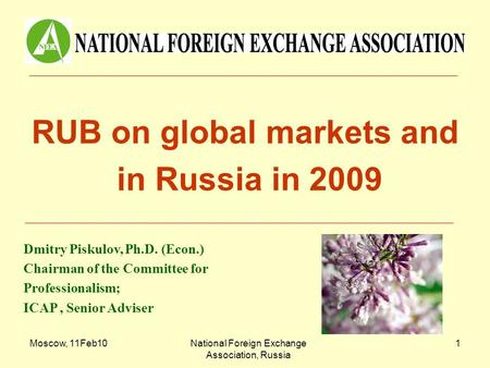 Moscow, 11Feb10National Foreign Exchange Association, Russia 1 RUB on global markets and in Russia in 2009 Dmitry Piskulov, Ph.D. (Econ.) Chairman of the.