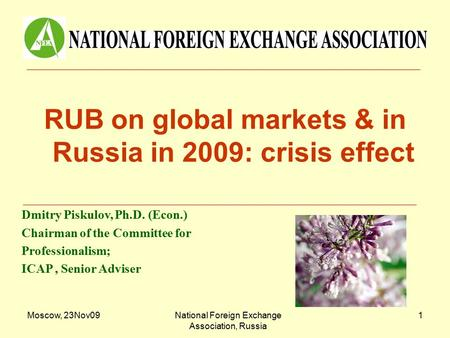 Moscow, 23Nov09National Foreign Exchange Association, Russia 1 RUB on global markets & in Russia in 2009: crisis effect Dmitry Piskulov, Ph.D. (Econ.)
