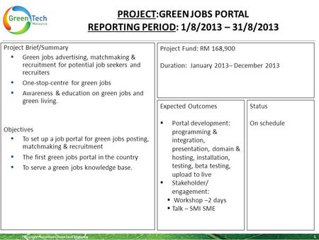 Copyright Reserved GreenTech Malaysia PROJECT:GREEN JOBS PORTAL REPORTING PERIOD: 1/8/2013 – 31/8/2013 1 Project Brief/Summary  Green jobs advertising,