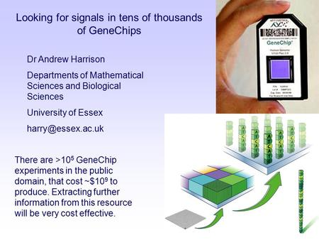 Dr Andrew Harrison Departments of Mathematical Sciences and Biological Sciences University of Essex Looking for signals in tens of thousands.