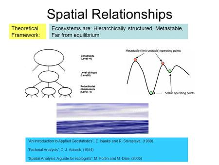 "Ecosystems are: Hierarchically structured, Metastable, Far from equilibrium Spatial Relationships Theoretical Framework: ""An Introduction to Applied Geostatistics"","