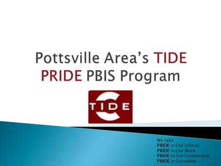 We take … PRIDE in Our School PRIDE in Our Work PRIDE in Our Community PRIDE in Ourselves.