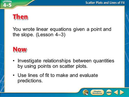 Then/Now You wrote linear equations given a point and the slope. (Lesson 4–3) Investigate relationships between quantities by using points on scatter plots.