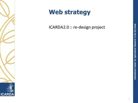International Center for Agricultural Research in the Dry Areas Web strategy ICARDA2.0 :: re-design project 1.