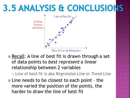  Recall: A line of best fit is drawn through a set of data points to best represent a linear relationship between 2 variables  Line of best fit is aka.