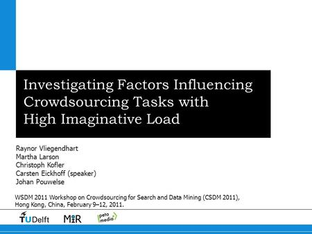 Investigating Factors Influencing Crowdsourcing Tasks with High Imaginative Load Raynor Vliegendhart Martha Larson Christoph Kofler Carsten Eickhoff (speaker)