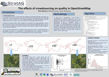 The OpenStreetMap project The OpenStreetMap Project is one of the best known examples of Volunteered Geographic Information on the Internet today. The.