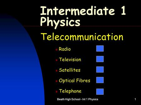 Beath High School - Int 1 Physics1 Intermediate 1 Physics Telecommunication Radio Television Satellites Optical Fibres Telephone.