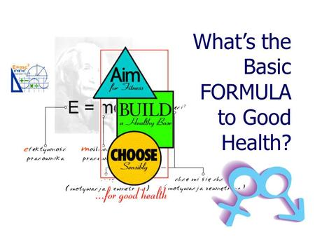 What's the Basic FORMULA to Good Health? The Human Body is Composed of 60,000,000,000,000 (60 Trillion)Cells Clean Water Balanced Nutrients Sufficient.