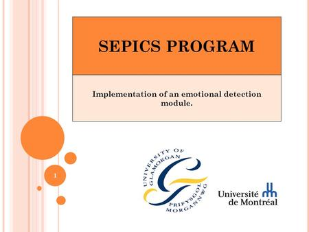 SEPICS PROGRAM Implementation of an emotional detection module. 1.