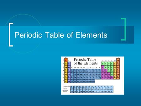Periodic Table of Elements. Mendeleev In 1869, Dmitri Ivanovitch Mendeléev created the first accepted version of the periodic table. He grouped elements.