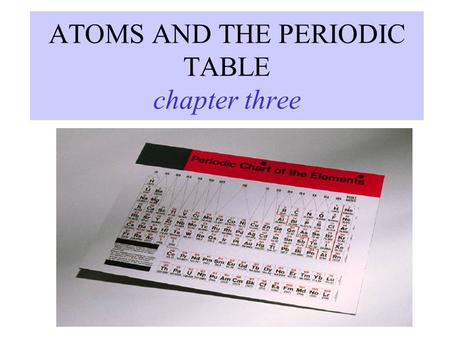 ATOMS AND THE PERIODIC TABLE chapter three. ATOMIC THEORY - history 4 TH CENTURY B.C. Matter is made of tiny particles called ATOMS. John DALTON ELEMENTS.