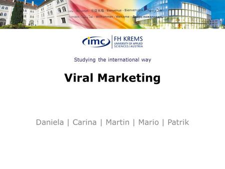 Studying the international way Viral Marketing Daniela | Carina | Martin | Mario | Patrik.