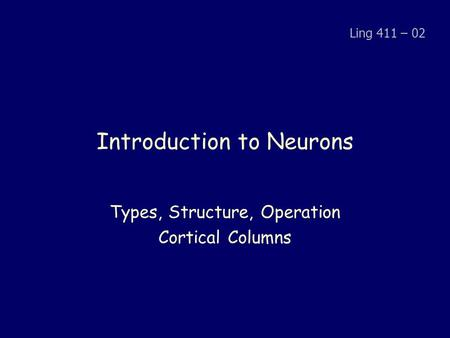 Introduction to Neurons Types, Structure, Operation Cortical Columns Ling 411 – 02.