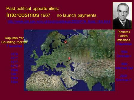 Past political opportunities: Intercosmos 1967 no launch payments
