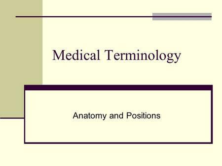 Medical Terminology Anatomy and Positions.