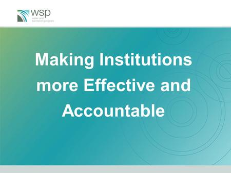 Making Institutions more Effective and Accountable.