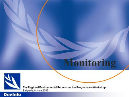 DevInfo Monitoring The Regional Environmental Reconstruction Programme – Workshop Belgrade, 8 June 2005.