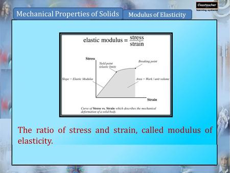 The ratio of stress and strain, called modulus of elasticity. Mechanical Properties of Solids Modulus of Elasticity.